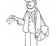 Coloriage et dessins gratuit Un facteur avec une lettre dans sa main à imprimer