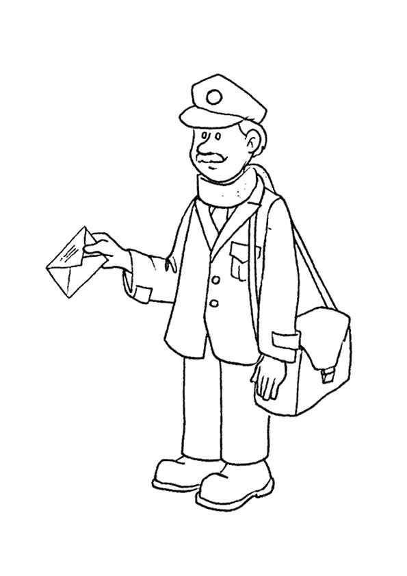 Coloriage et dessins gratuits Un facteur avec une lettre dans sa main à imprimer