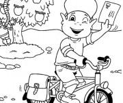 Coloriage Un jeune facteur à vélo
