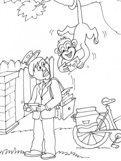 Coloriage un singe prend une lettre de sac de facteur - Facteur dessin ...