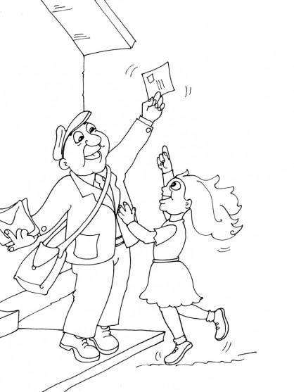 Coloriage une fille tente de prendre une lettre de la main de facteur - Facteur dessin ...