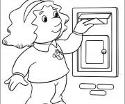 Coloriage Une petite fille met une lettre dans la boîte