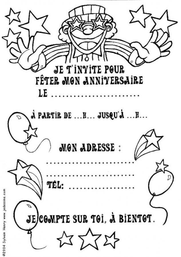 Coloriage et dessins gratuits Invitation pour mon Anniversaire à imprimer
