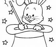 Coloriage et dessins gratuit le lapin dans le chapeau à imprimer