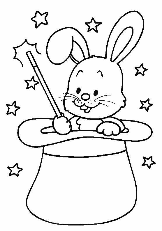 Coloriage et dessins gratuits le lapin dans le chapeau à imprimer