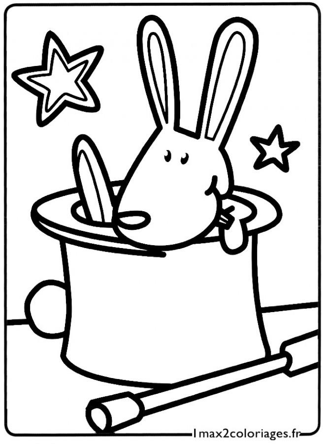 Coloriage et dessins gratuits Le Lapin du Magicien à colorier à imprimer