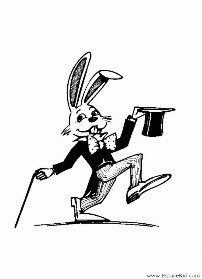 Coloriage et dessins gratuits Le Lapin Magicien à imprimer