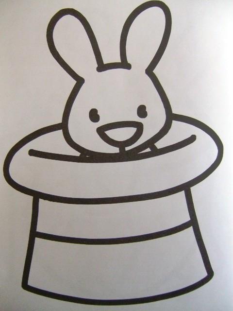 Coloriage et dessins gratuits Le Lapin sort sa Tête du Chapeau de Magicien à imprimer