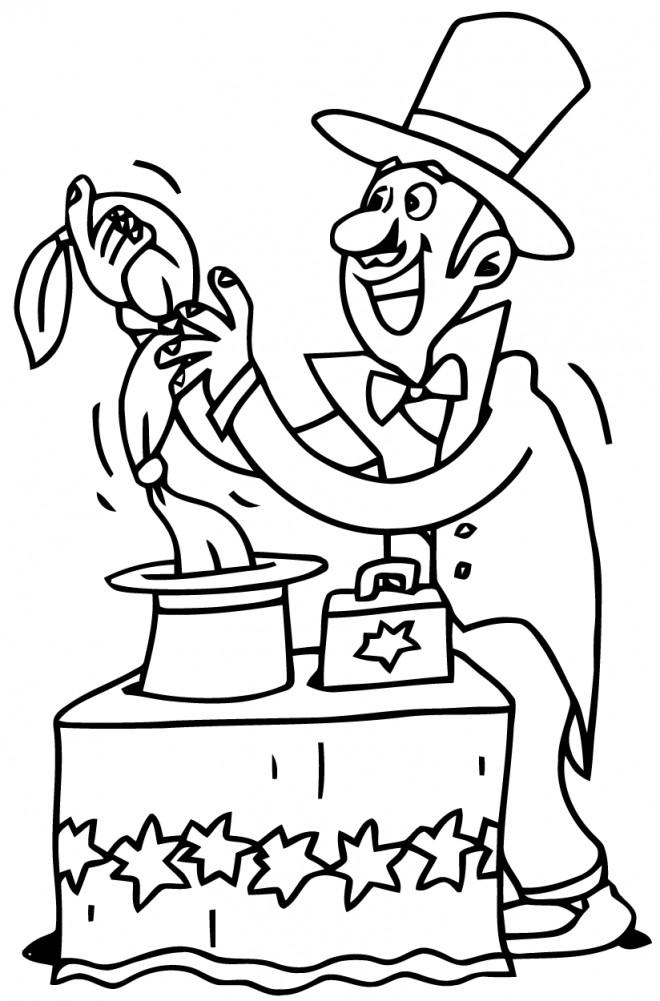 Coloriage et dessins gratuits Le Spectacle de Magicien à imprimer