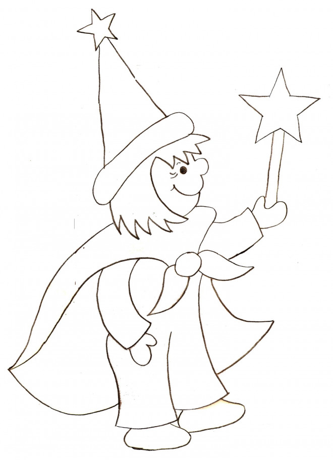 Coloriage et dessins gratuits Magicien au crayon à imprimer