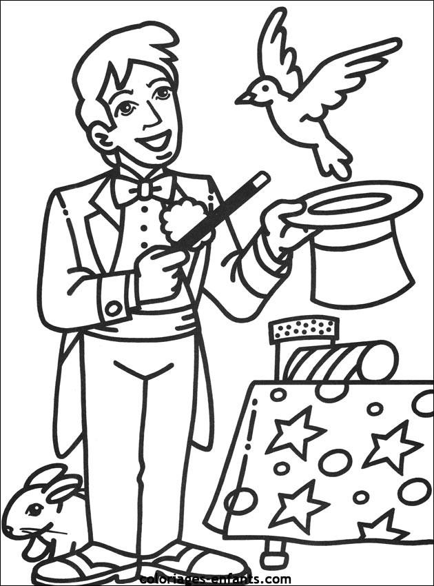 Coloriage magicien en ligne dessin gratuit imprimer - Dessin de chapeau de magicien ...