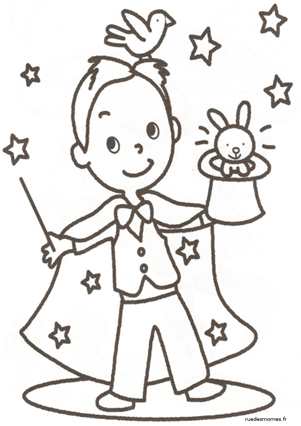 Coloriage magicien facile dessin gratuit imprimer - Dessin de chapeau de magicien ...