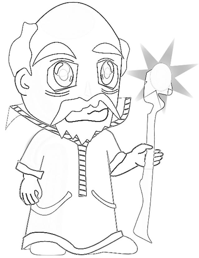 Coloriage et dessins gratuits Magicien portant son Bâton magique à imprimer