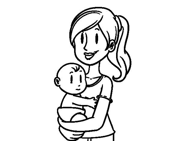 Coloriage beau dessin de maman et b b - Dessin de maman ...