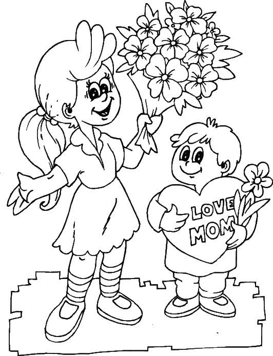 Coloriage et dessins gratuits Dessin pour fêtes des mères à imprimer