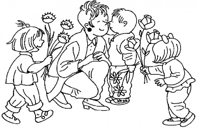 Coloriage et dessins gratuits Les enfants donnent les fleurs à leur Maman à imprimer