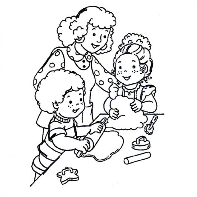 Coloriage et dessins gratuits Maman à la Cuisinie à imprimer