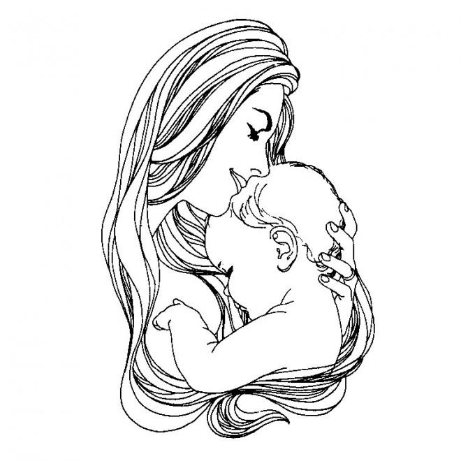 Coloriage et dessins gratuits Maman embrasse son bébé à imprimer