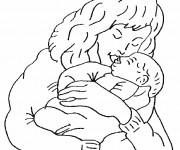 Coloriage Maman et bébé