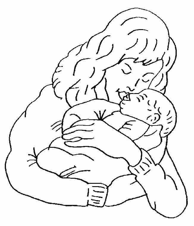 Coloriage et dessins gratuits Maman et bébé à imprimer
