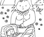 Coloriage Maman et bébé en plein air