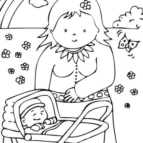 Coloriage et dessins gratuits Maman et bébé en plein air à imprimer