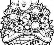 Coloriage Maman et cadeau de fleurs