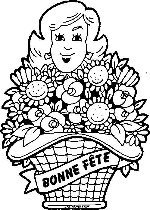 Coloriage et dessins gratuits Maman et cadeau de fleurs à imprimer