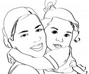 Coloriage Maman et sa fille