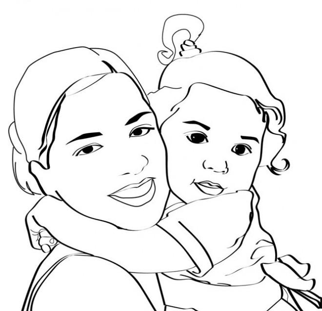 Coloriage maman et sa fille dessin gratuit imprimer - Dessin pour maman ...