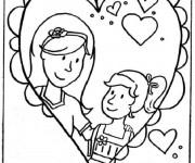Coloriage Maman et sa fille en coeur