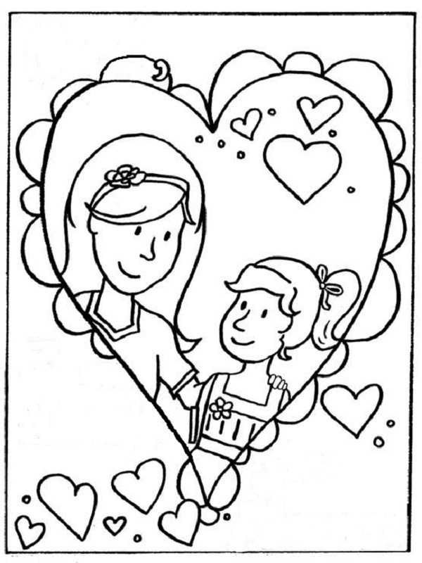 Coloriage et dessins gratuits Maman et sa fille en coeur à imprimer