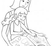 Coloriage Maman et sa fille lisent un livre