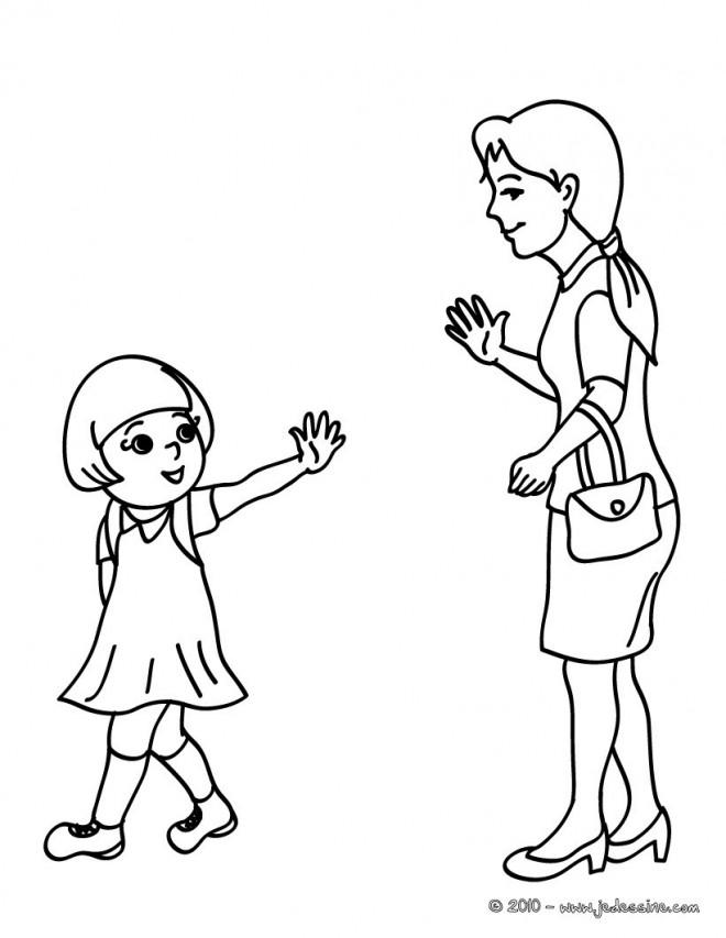 Coloriage et dessins gratuits Maman et sa petite fille à imprimer