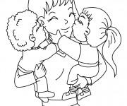 Coloriage Maman et ses enfants