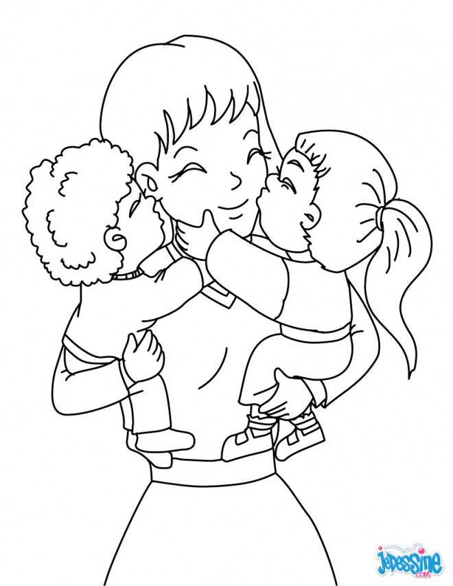 coloriage et dessins gratuits maman et ses enfants imprimer