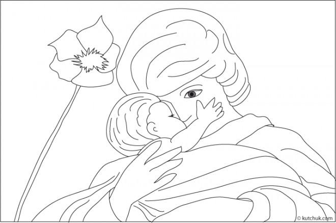 Coloriage et dessins gratuits Maman et son bébé à imprimer