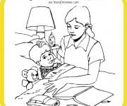 Coloriage Maman et son enfant malade