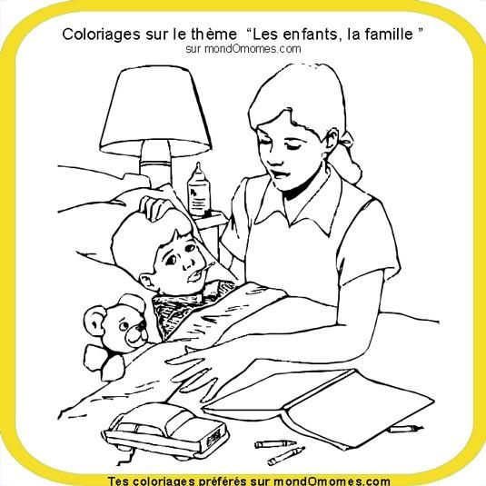 Coloriage et dessins gratuits Maman et son enfant malade à imprimer