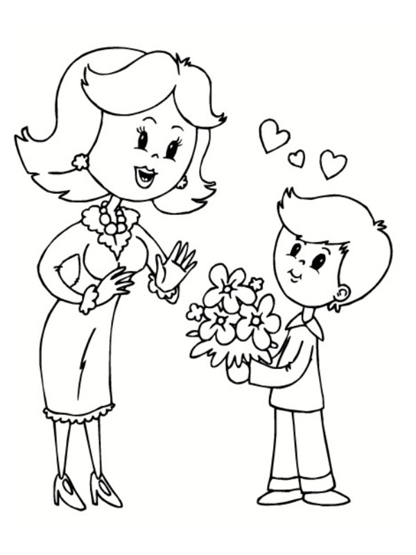 Coloriage Maman et son fils dessin gratuit à imprimer