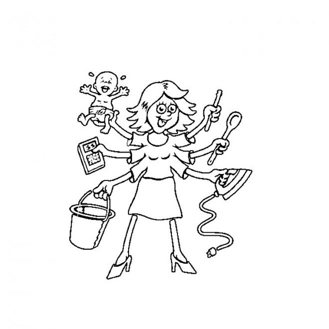 Coloriage et dessins gratuits Maman multifonctionnelle à imprimer