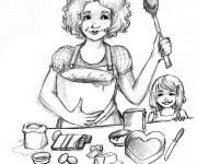 Coloriage Maman prépare un gâteau