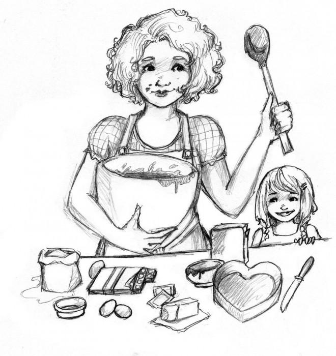 Coloriage maman pr pare un g teau dessin gratuit imprimer - Coloriage de gateau ...