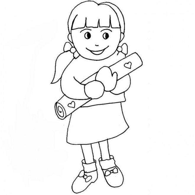 Coloriage une fille porte un cadeau pour maman dessin - Dessin de maman ...