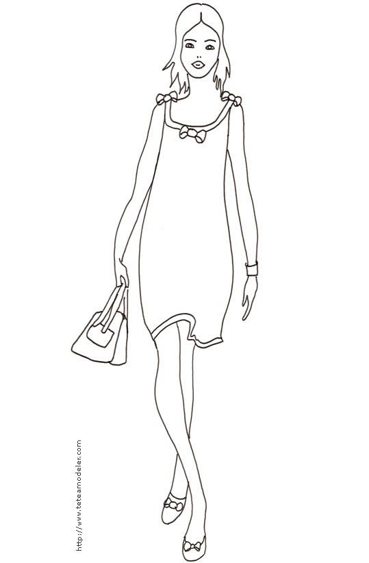 Coloriage et dessins gratuits croquis de mode femme à imprimer