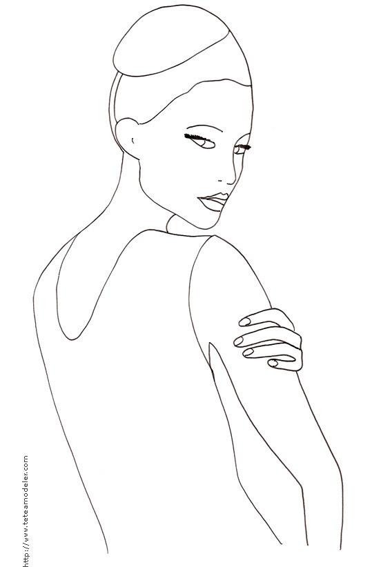 Coloriage et dessins gratuits Mannequin haute couture Pose à imprimer