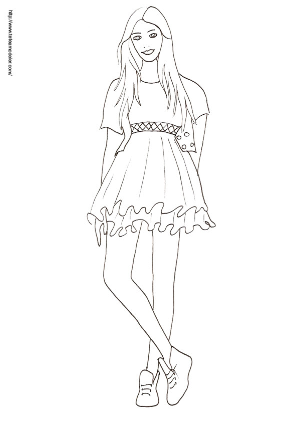Coloriage mannequin top model dessin gratuit imprimer - Coloriage top model a imprimer ...