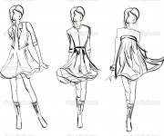 Coloriage Mannequins de couture styliste