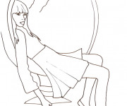 Coloriage Top Model assise dans un fauteille bulle