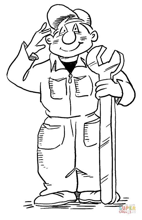 Coloriage et dessins gratuits Le mécanicien te salue à imprimer